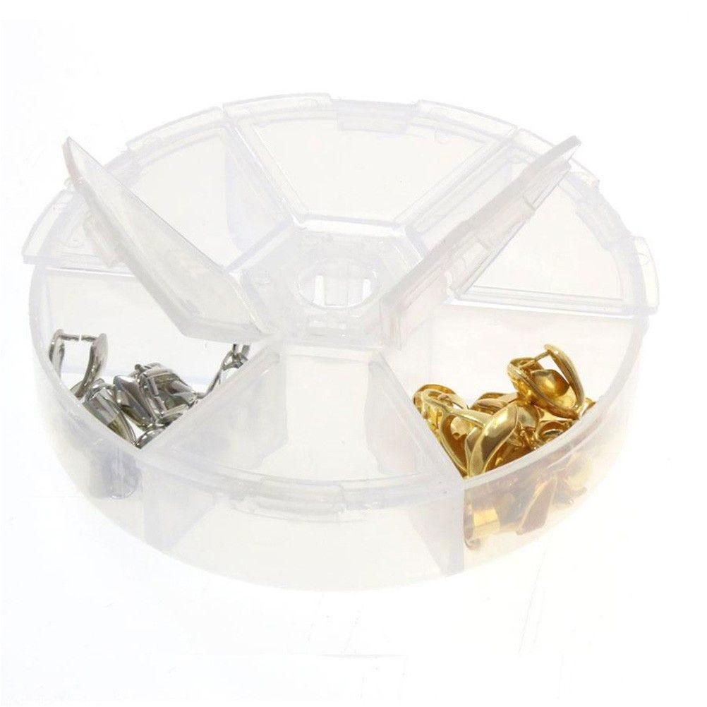 Boite de rangement perles accessoires bijoux 6 compartiments translucide (photo)