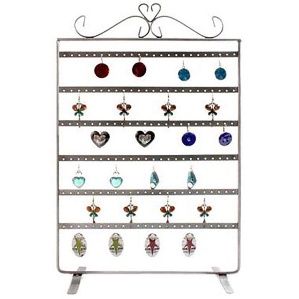 Porte bijoux cadre porte boucle d'oreille 6 rangs (72 paires) gris patiné (photo)