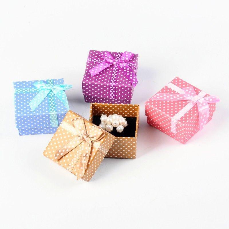 Écrin boîte cadeau pour bagues avec nœud 4x23 cm rose - par 24 (photo)