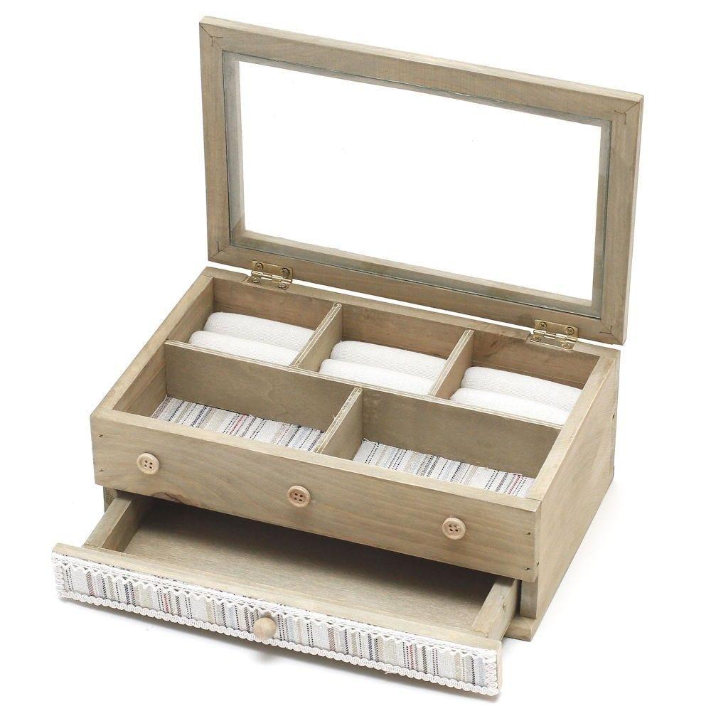 Boîte à bijoux coffret en bois bagues colliers bracelets avec tiroir naturel (photo)