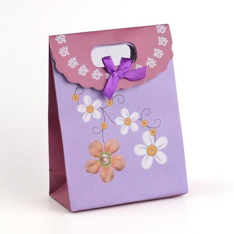 Pochette cadeau bijoux 16,5x12 cm fleurs violet - par 12