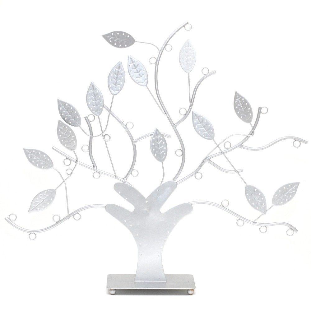 Porte bijoux arbre à boucle d'oreille et bijoux design gris (photo)