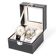 Présentoir coffret boîte pour 2 montres simili - présentoirs pour bijoux noir (photo)