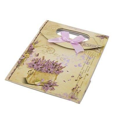 Sac cadeau cartonnés 16,5x12 cm lavandes beige - par 12 (photo)
