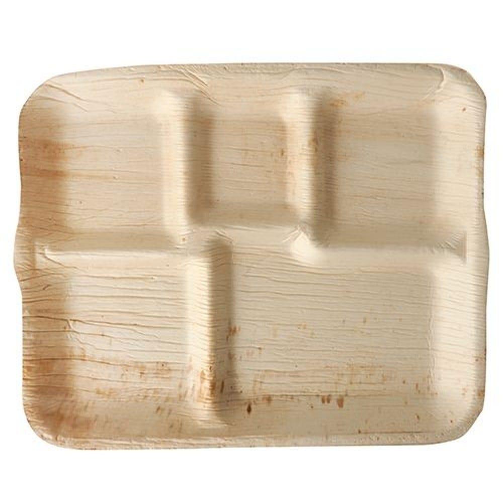 Assiettes, Feuille de palmier pure 5 compartiments 27 cm x 21,5 cm x 2 cm par 36