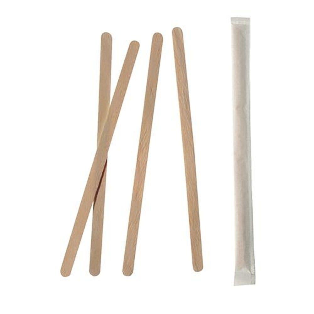 Agitateurs, bois pure 17,8 cm x 6 mm emballage individuel - par 10000