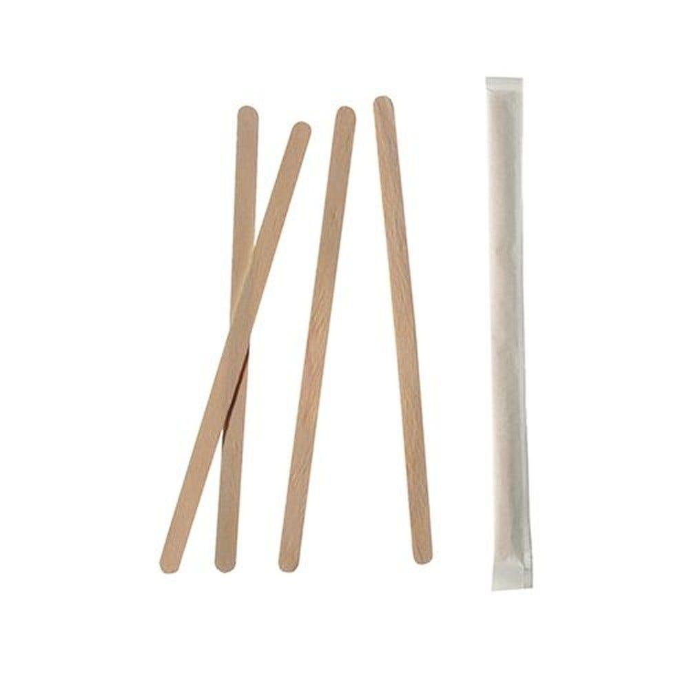 Agitateurs, bois pure 14 cm x 6 mm emballage individuel - par 10000