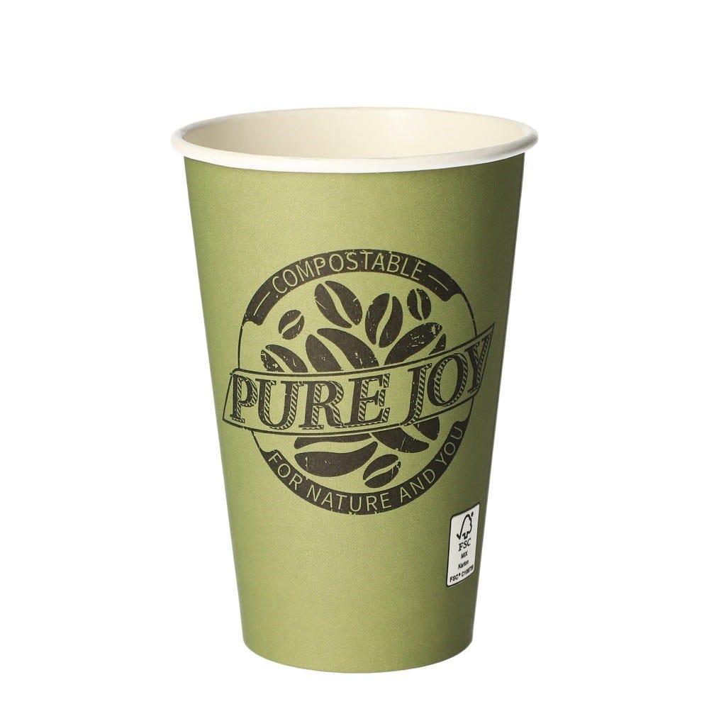 Gobelets, carton pure 0,3 l Ø 8 cm · 11,7 cm vert Pure Joy - par 1000
