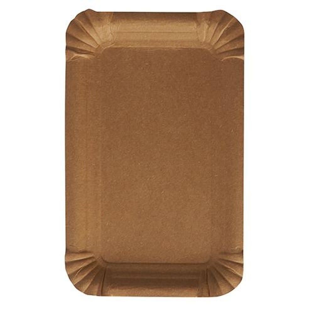 Assiettes, carton pure rectangulaire 10 cm x 16 cm marron - par 2000