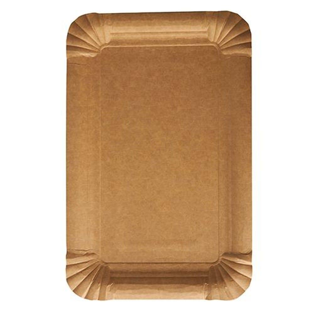 Assiettes, carton pure rectangulaire 13 cm x 20 cm marron - par 1000