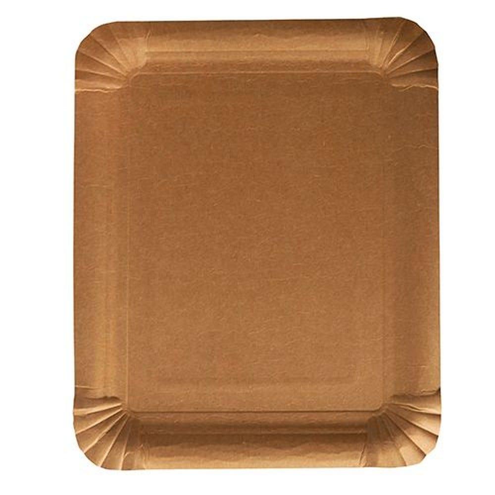 Assiettes, carton pure rectangulaire 16,5 cm x 20 cm marron - par 500
