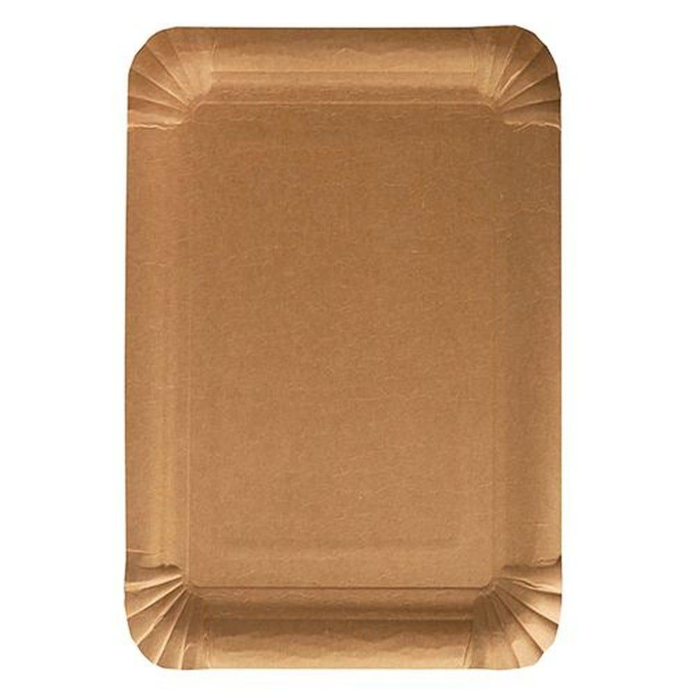 Assiettes, carton pure rectangulaire 16,5 cm x 23 cm marron - par 500