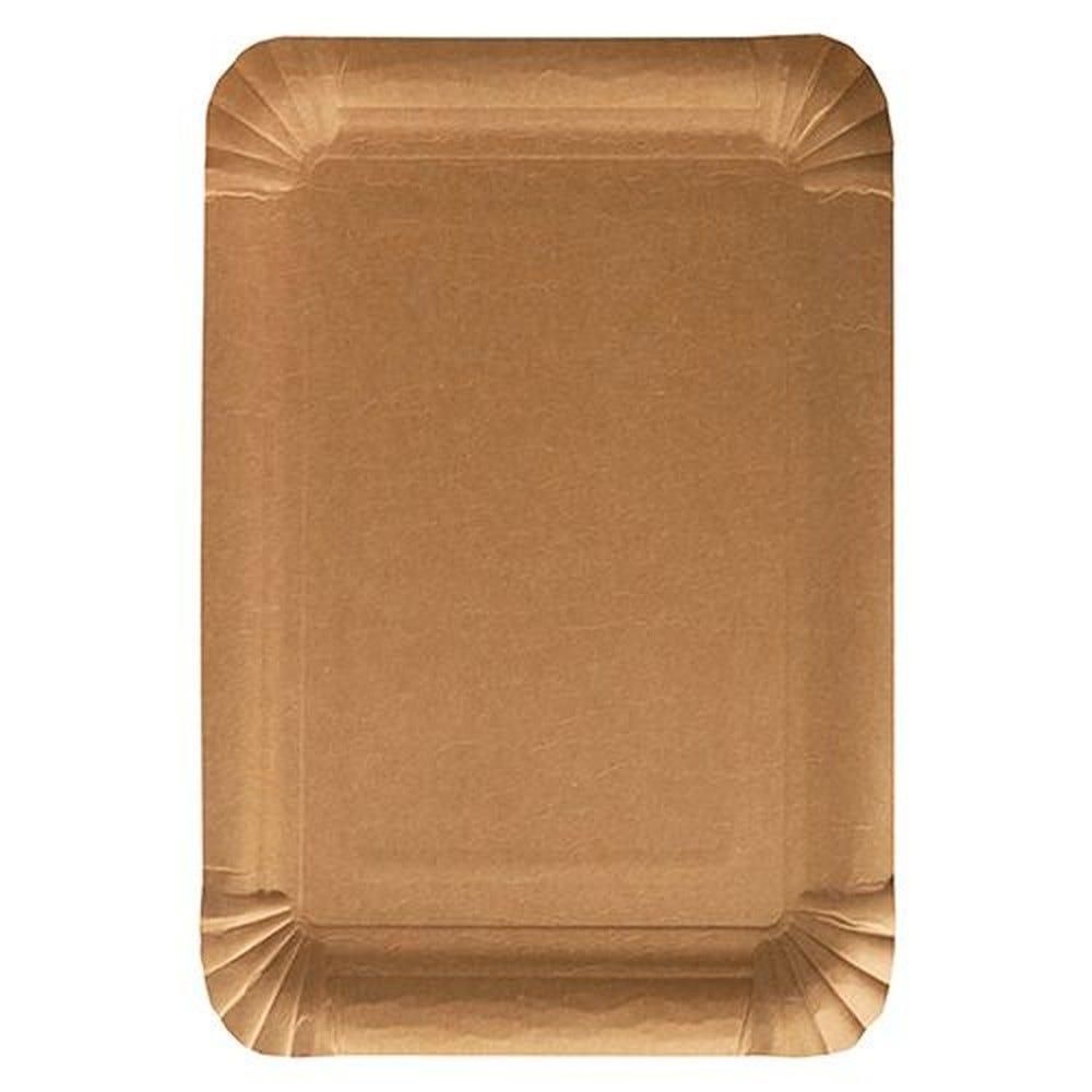 Assiettes, carton pure rectangulaire 18 cm x 26 cm marron - par 500
