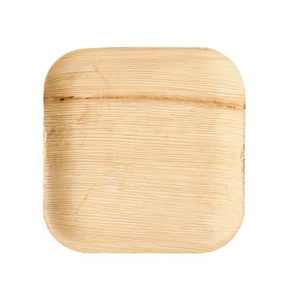Assiettes, Feuille de palmier pure rectangulaire 18 cm x 18 cm x 1,5 cm - par 25