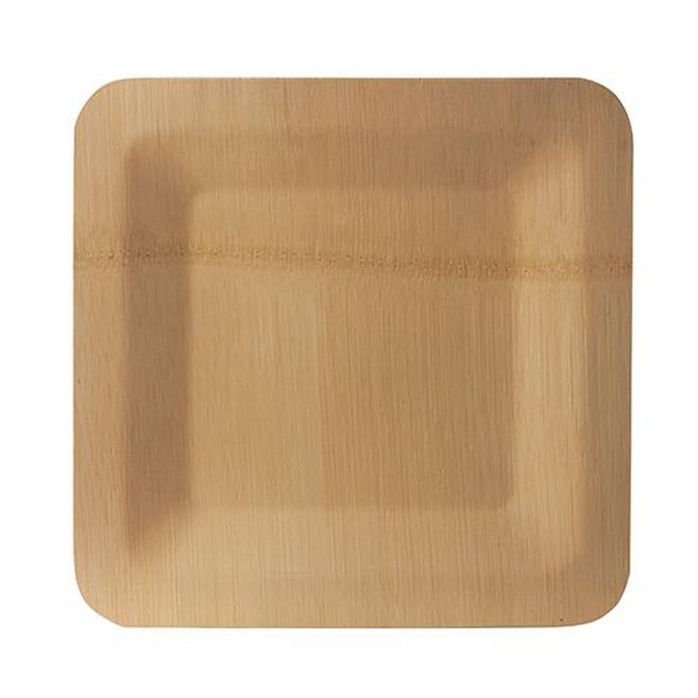 Assiettes, fait en bambou pure rectangulaire 1,5  x 25,5  x 25,5 cm - par 250