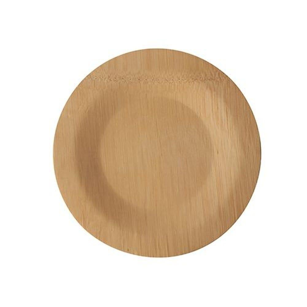 Assiettes, fait en bambou pure sans compartiments Ø 18 cm · 1,5 cm - par 250