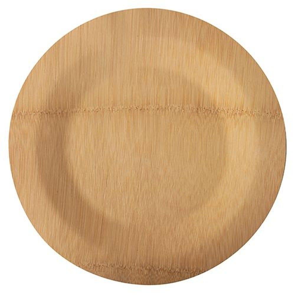 Assiettes, fait en bambou pure sans compartiments Ø 28 cm · 1,5 cm - par 250