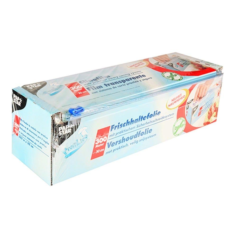 Film plastique alimentaire 300 m x 30 cm avec système de découpage par 6