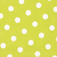 Serviette 3 plis pliage 1/4 40 cm x 40 cm vert anis ''Dots'' par 200