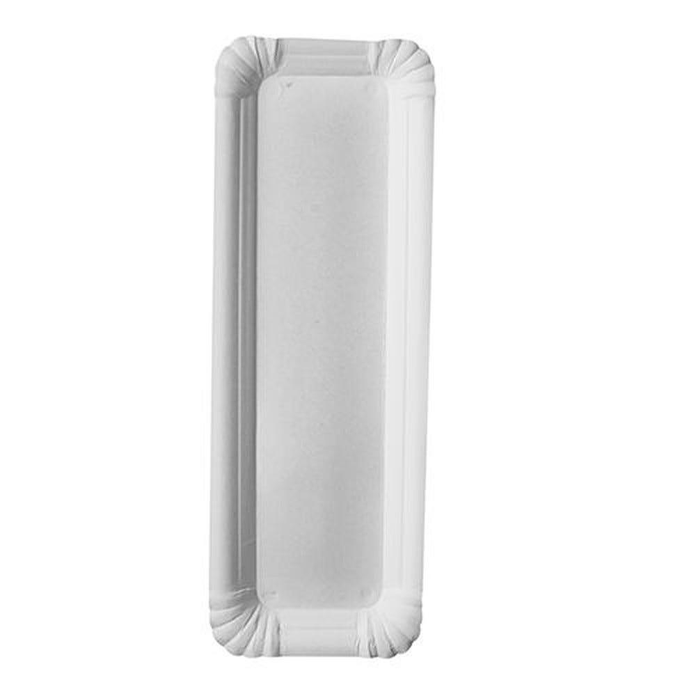 Assiette en carton ''pure'' rectangulaire 8 cm x 23 cm blanc par 1000