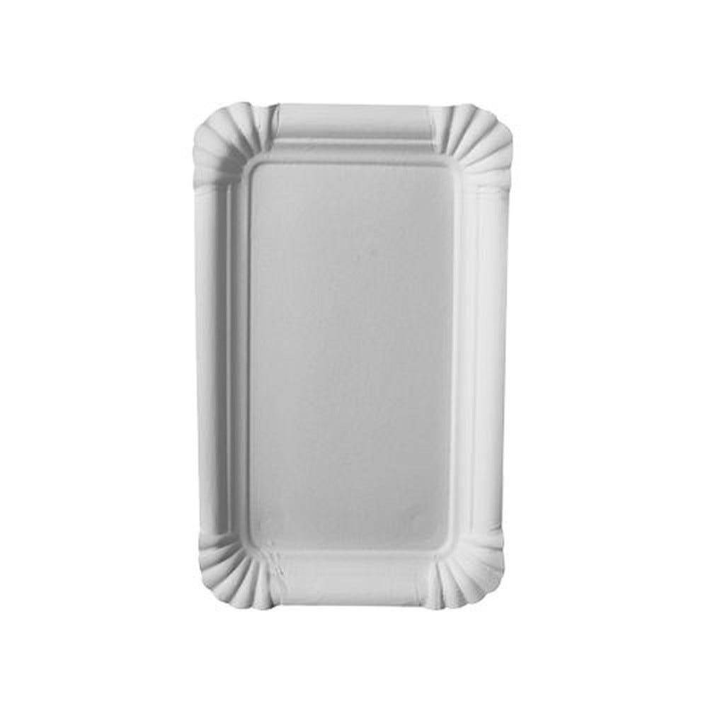 Assiette en carton ''pure'' rectangulaire 10 cm x 16 cm blanc par 2000