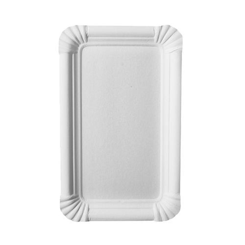 Assiette en carton ''pure'' rectangulaire 11 cm x 17,5 cm blanc par 1000