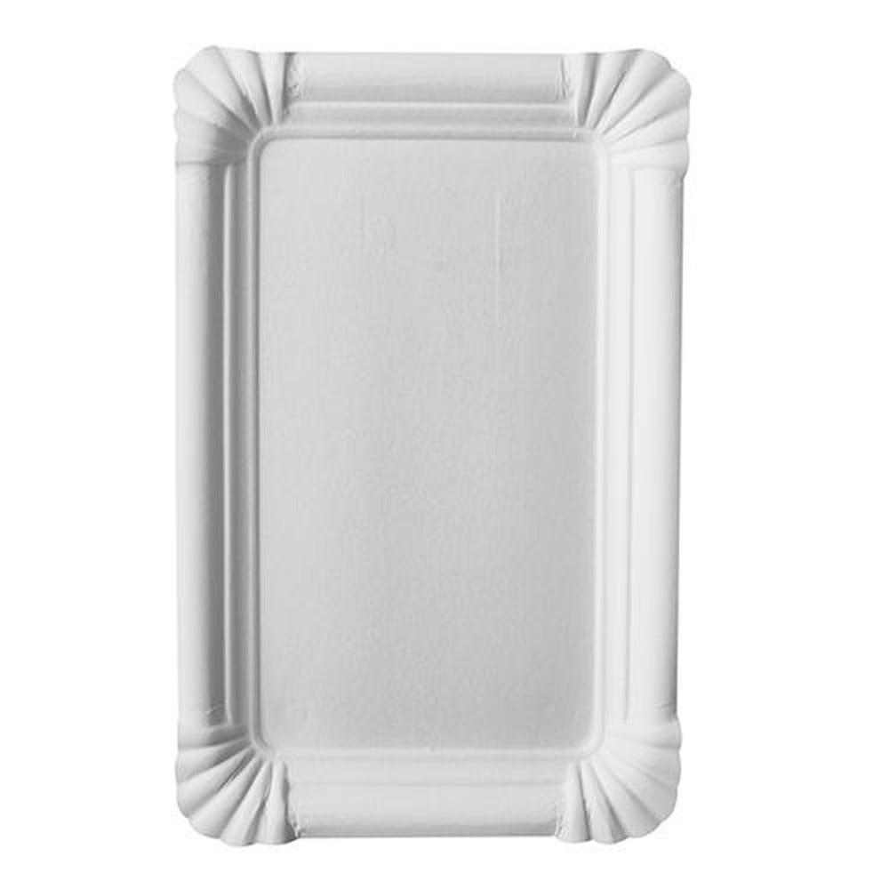 Assiette en carton ''pure'' rectangulaire 13 cm x 20 cm blanc par 1000