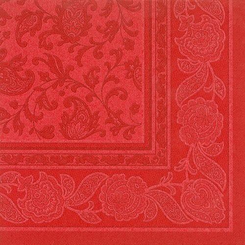 Serviette 'ROYAL Collection' pliage 1/4 40 cm x 40 cm rouge 'Ornaments' par 250