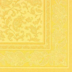 Serviette 'ROYAL Collection' pliage 1/4 40 cm x 40 cm jaune 'Ornaments' par 250