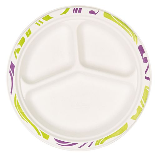 Assiette en pulpe de bois 3 compartiments Ø 26 cm · 3 cm blanc par 500