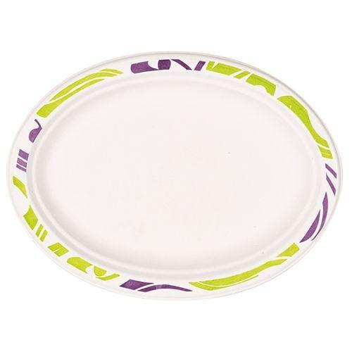 Assiette en pulpe de bois ovale 26 cm x 19 cm x 2 cm blanc ''Flavour'' par 500