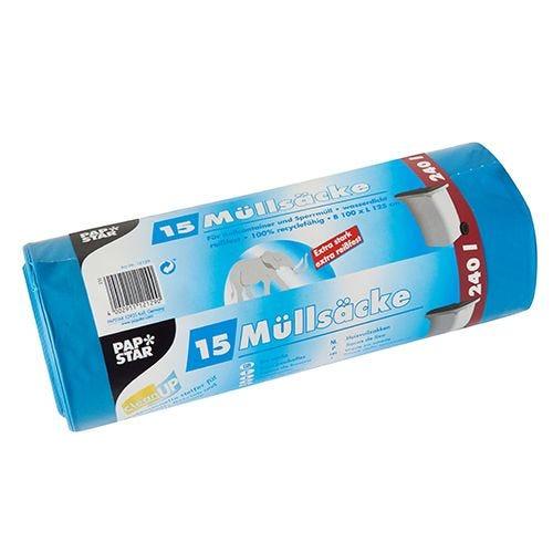 Sac poubelle, LDPE 240 l 125 cm x 100 cm bleu par 60