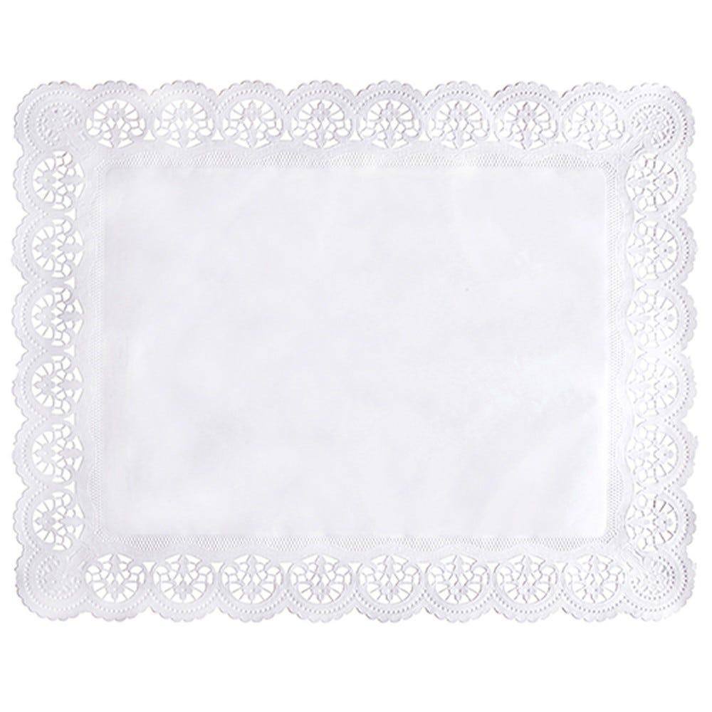 Dentelle en papier rectangulaire 46 cm x 36 cm blanc par 2000