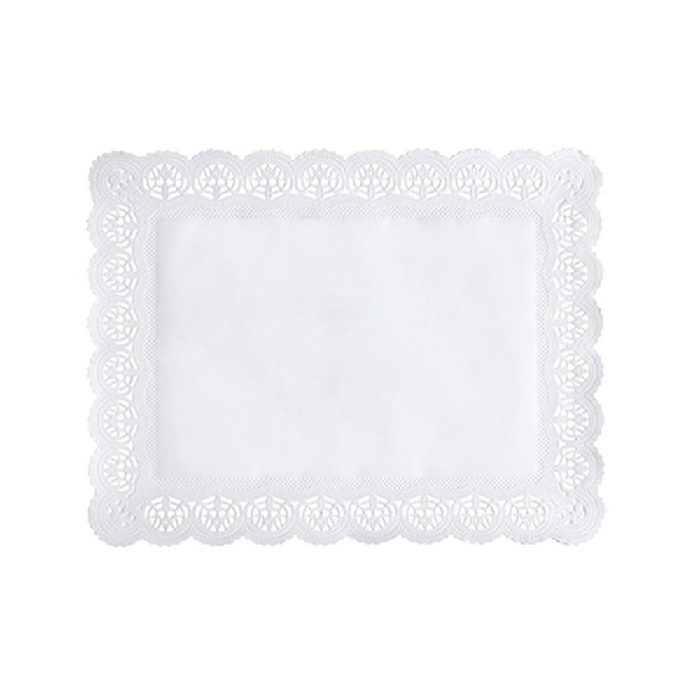 Dentelle en papier rectangulaire 34 cm x 26 cm blanc par 2000