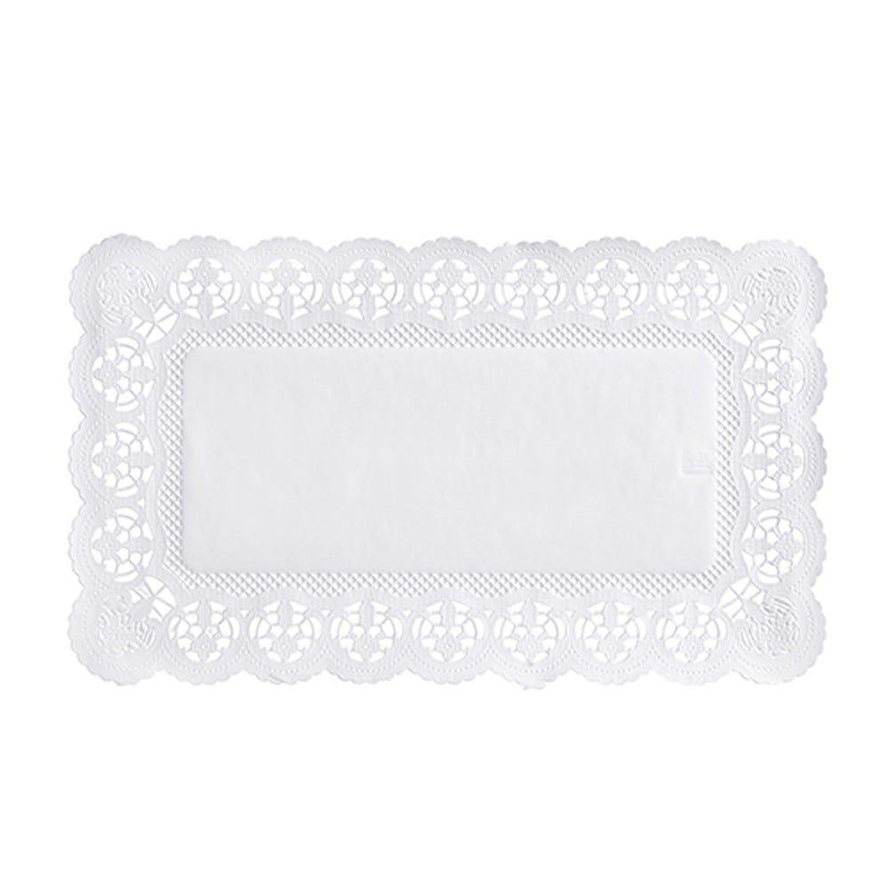 Dentelle en  papier rectangulaire 30 cm x 18 cm blanc par 2000