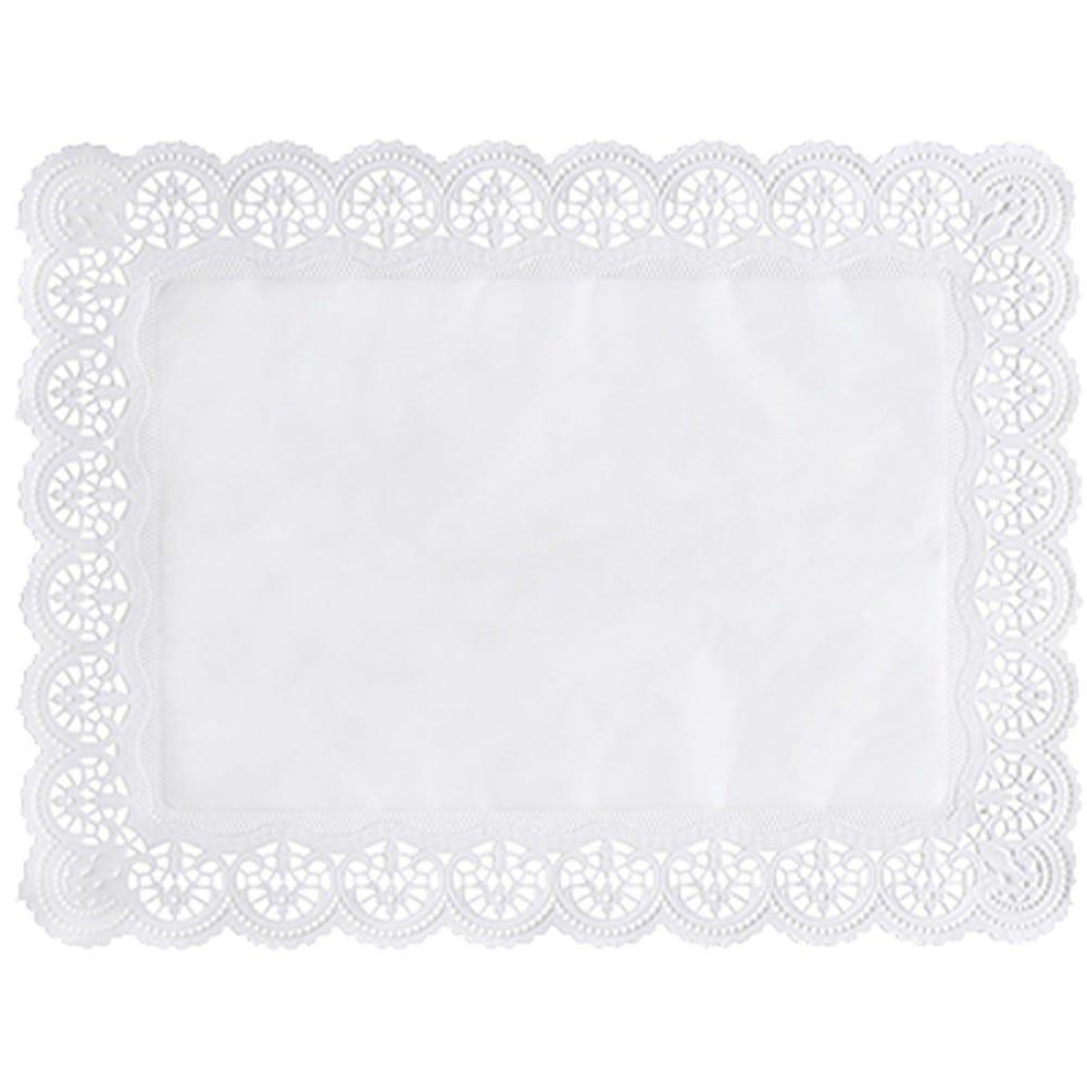 Dentelle en papier rectangulaire 40 cm x 30 cm blanc par 2000