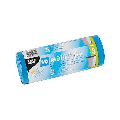 Sac poubelle LDPE 60 l 85 cm x 60 cm bleu par 90