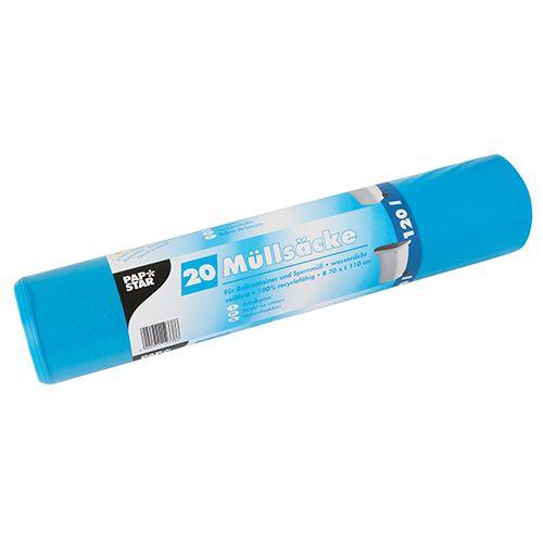 Sac poubelle, LDPE 120 l 110 cm x 70 cm bleu - par 200