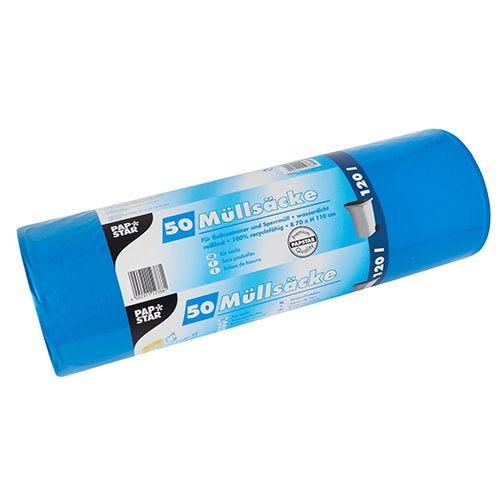 Sac poubelle, LDPE 120 l 110 cm x 70 cm bleu par 200
