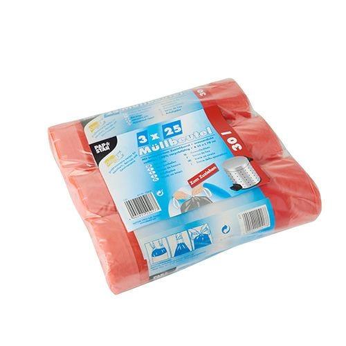 Sac poubelle, HDPE 30 l 70 cm x 55 cm rouge par 375
