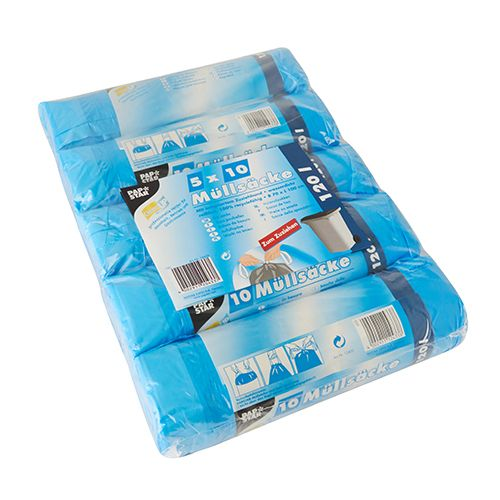 Sac poubelle avec fermeture, HDPE 120 l 100 cm x 70 cm bleu par 200