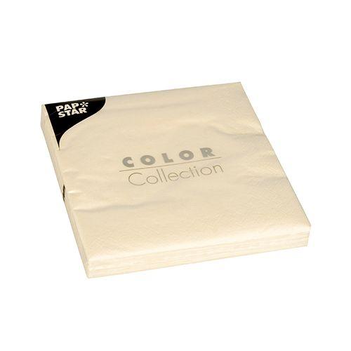 Serviette 3 plis pliage 1/4 33 cm x 33 cm crème par 300