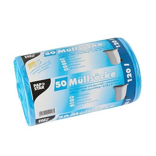 Sac poubelle, HDPE 120 l 110 cm x 70 cm bleu par 200