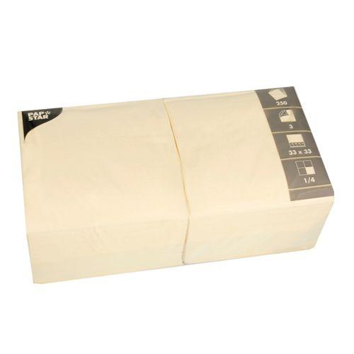 Serviette 3 plis pliage 1/4 33 cm x 33 cm crème par 1000