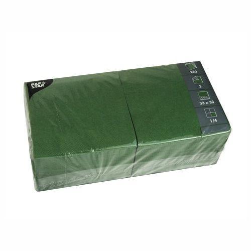 Serviette 3 plis pliage 1/4 33 cm x 33 cm vert foncé par 1000