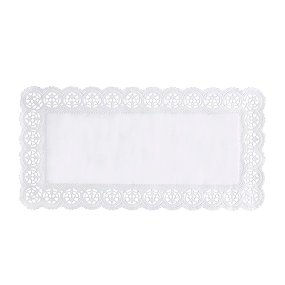 Dentelle en papier rectangulaire 40 cm x 20 cm blanc par 150