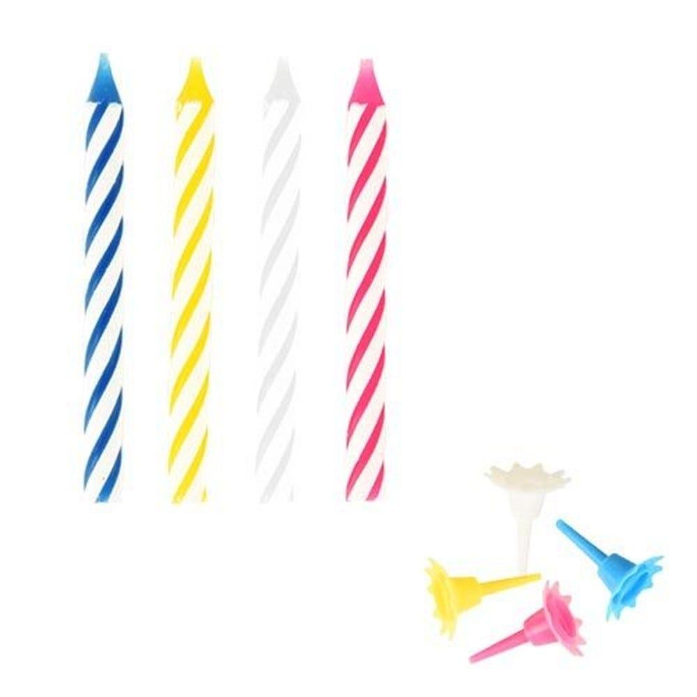 Bougie d'anniversaire avec support 6 cm couleurs assorties par 240