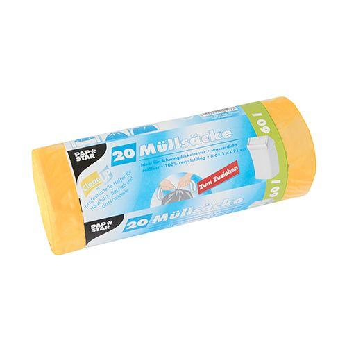 Sac poubelle avec fermeture, HDPE 60 l 71 cm x 64,5 cm jaune par 180