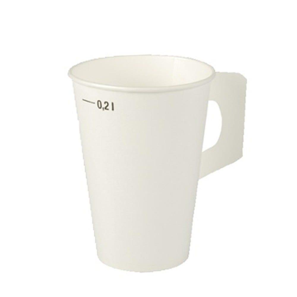 Gobelet avec poignées en carton 0,2 l Ø 7 cm · 9,7 cm blanc par 2000