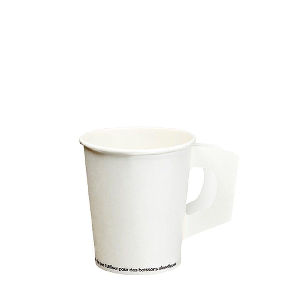 Gobelet avec poignées en carton 0,18 l Ø 7,3 cm · 7,8 cm blanc par 2000